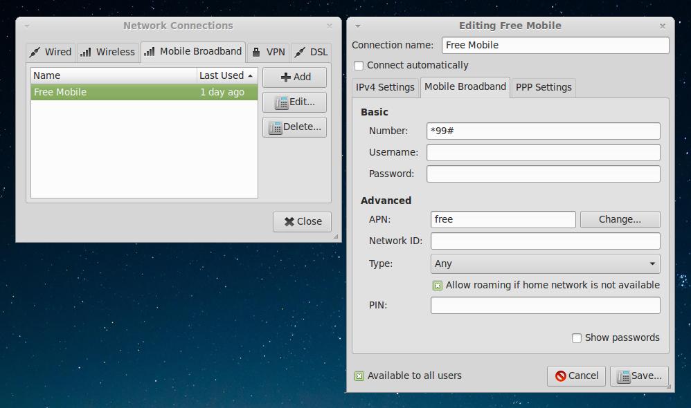 Configuration réseau Free mobile